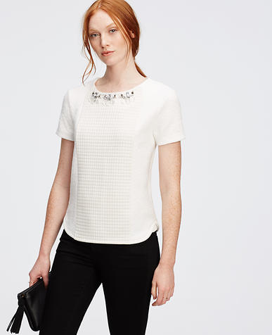Image of Petite Jeweled Texture Top