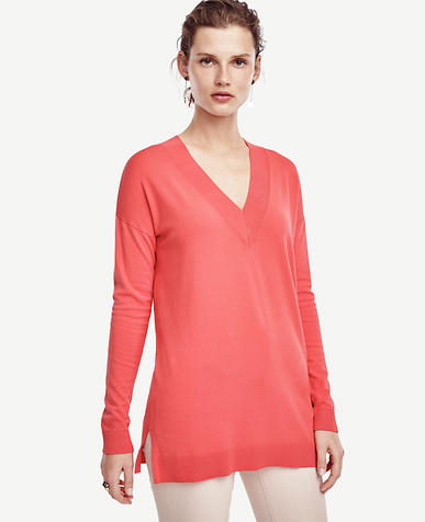Image of V-Neck Tunic Sweater