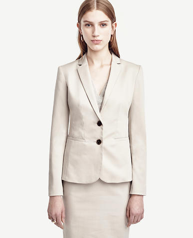 Image of Cotton Sateen Two Button Jacket