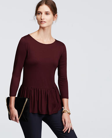 Image of Shirred Peplum Tee