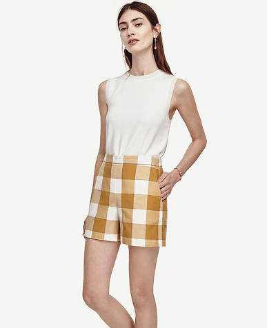 Image of Gingham High Waist Shorts