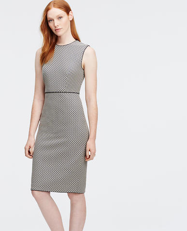 Image of Petite Jacquard Sleeveless Piped Sheath Dress