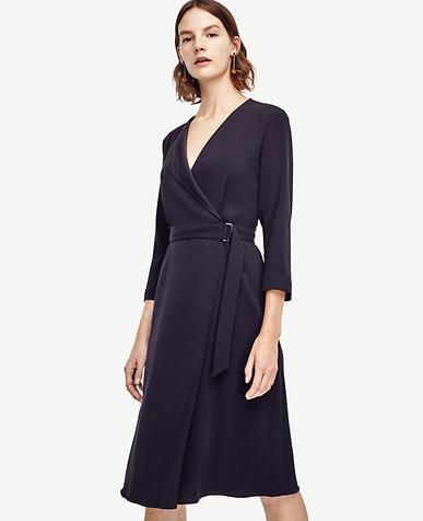 Image of Satin Collar Wrap Dress