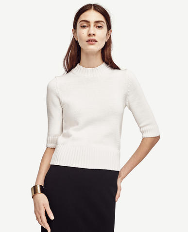 Image of Shrunken Mock Neck Sweater