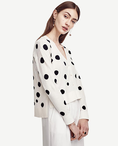 Image of Dotted Hi-Lo Cotton Cardigan