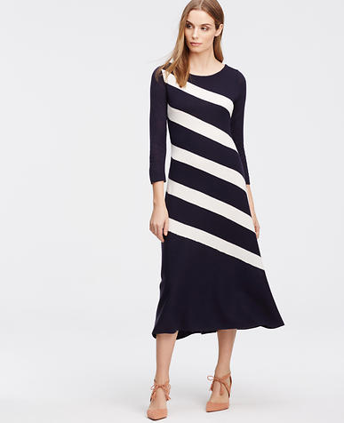 Image of Petite Bias Stripe Sweater Dress