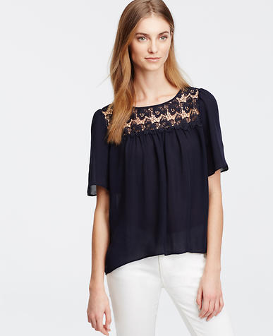 Image of Petite Shirred Lace Yoke Top