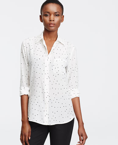 Image of Petite Dotted Silk Blouse