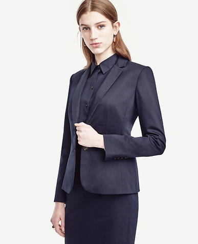 Image of Petite Cotton Sateen Two Button Jacket