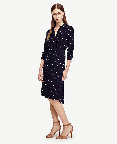 Image of Double Dot Long Sleeve Shirtdress