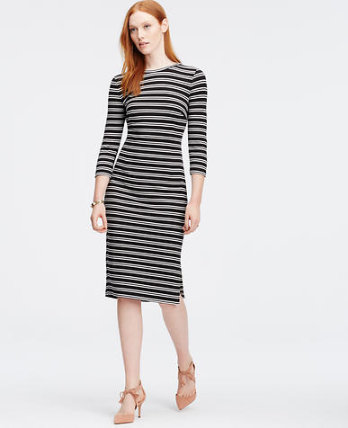 Image of Tall Striped 3/4 Sleeve Dress