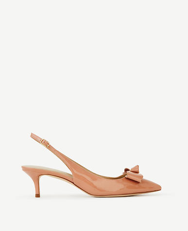 Image of Britt Bow Patent Slingback Pumps