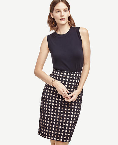 Image of Geo Eyelet Pencil Skirt
