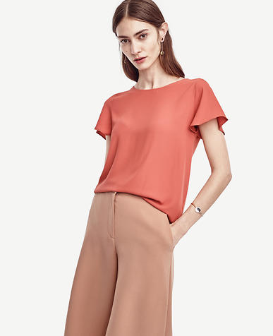 Image of Matte Jersey Flutter Sleeve Top