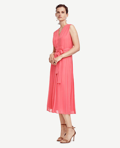 Image of Pleated Tie Waist Dress