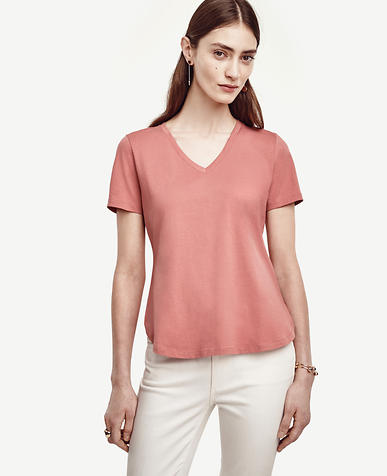 Image of Cotton V-Neck Tee
