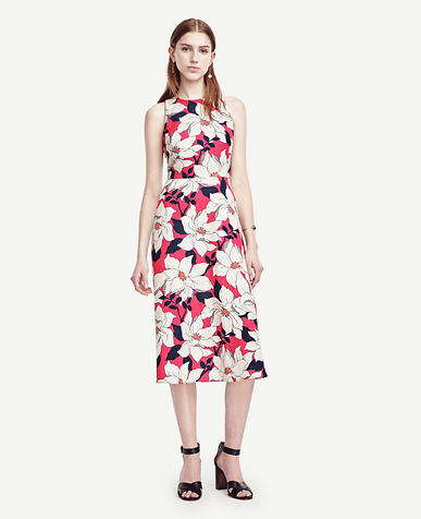 Image of Petite Hibiscus Midi Dress