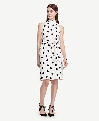 Image of Petite Belted Dot Dress