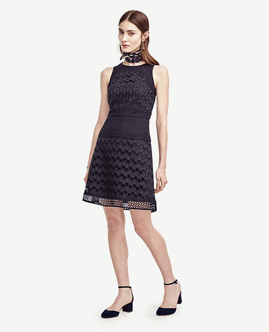 Image of Geo Eyelet Flare Dress