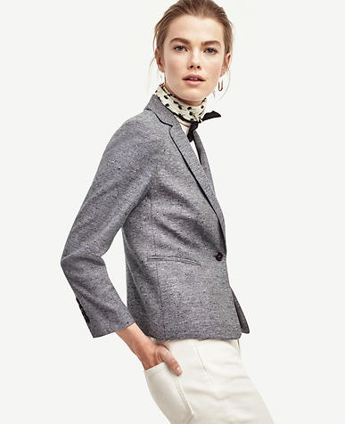 Image of Tweed Single Button Blazer