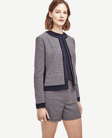 Image of Fringe Trim Tweed Jacket