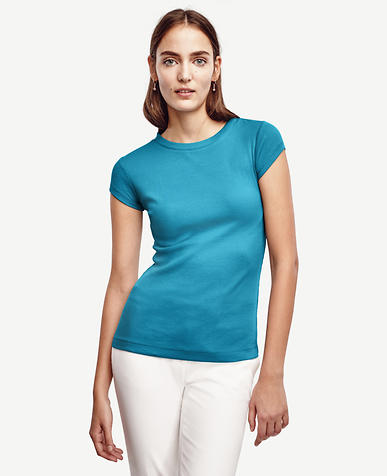 Image of Ribbed Cotton Cap Sleeve Tee