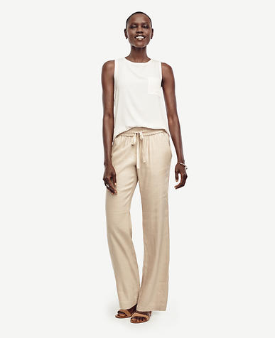 Image of Linen Blend Wide Leg Pants