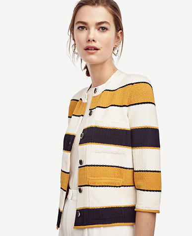 Image of Stripe Pocket Sweater Jacket