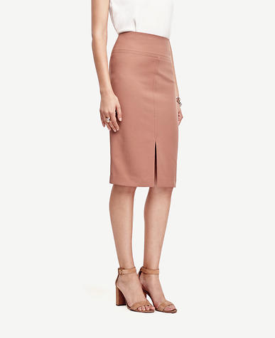Image of Cotton Twill Pencil Skirt