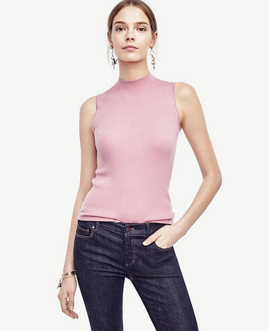 Image of Ribbed Mock Neck Sleeveless Sweater