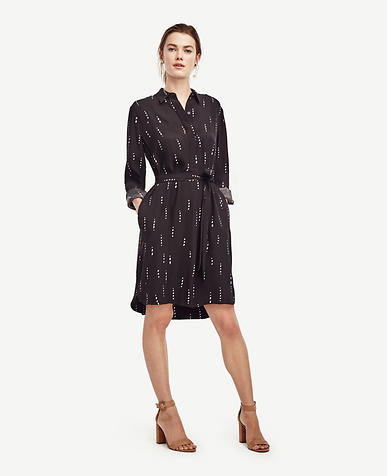 Image of Stitched Stripe Shirtdress