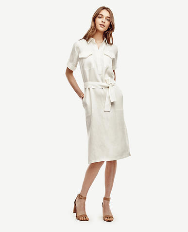 Image of Linen Blend Shirtdress