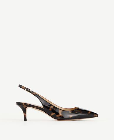 Image of Zosia Tortoiseshell Print Patent Slingback Heels