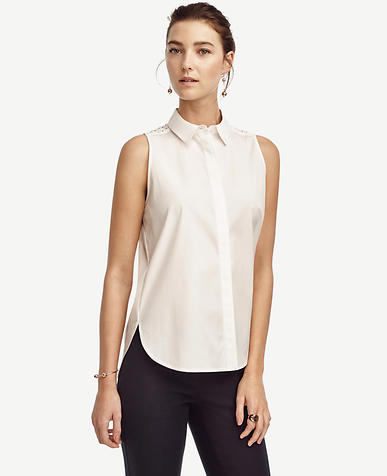 Image of Eyelet Sleeveless Perfect Shirt