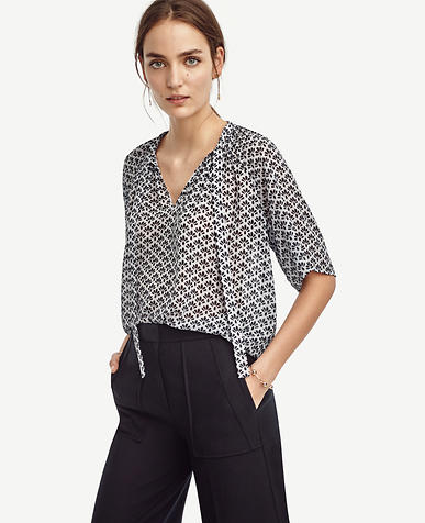Image of Petal Shirred Tie Neck Top