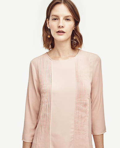 Image of Pleated Mixed Media Top