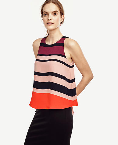 Image of Striped Crepe Peplum Top