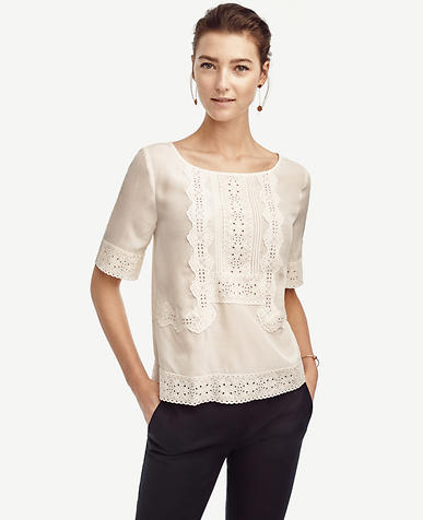 Image of Eyelet Lace Top