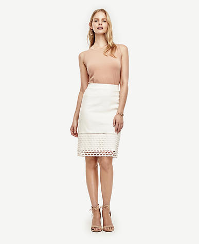 Image of Lace Hem Pencil Skirt