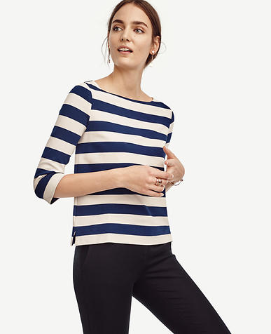 Image of Stripe Boatneck 3/4 Sleeve Top