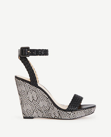 Image of Jane Leather Braided Platform Wedges