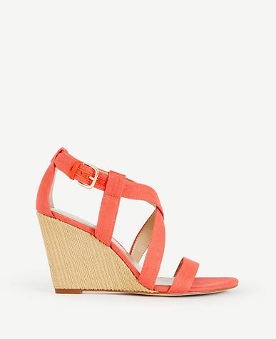 Image of Priscilla Linen Buckle Wedges