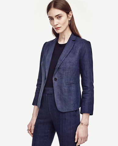 Image of Petite Linen 3/4 Sleeve Single Button Blazer