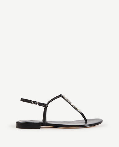 Image of Meredith Pearlized Leather Thong Sandals