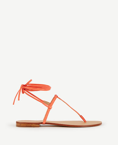 Image of Minna Laceup Leather Thong Sandals