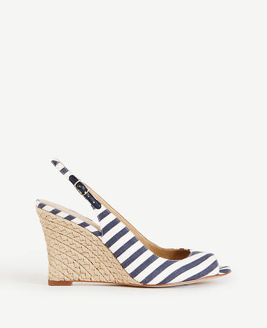 Image of Aileen Striped Slingback Wedges
