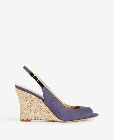 Image of Aileen Linen Slingback Wedges