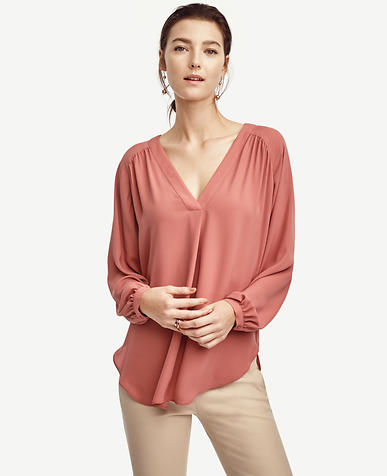 Image of Shirred V-Neck Blouse