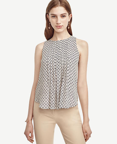 Image of Petite Diamond Pintucked Keyhole Top