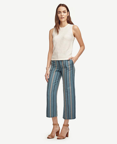 Image of Petite Striped Wide Leg Ankle Pants